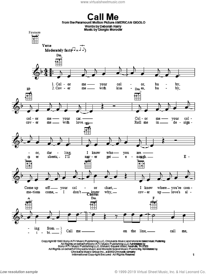 Call Me sheet music for ukulele by Blondie, intermediate ukulele. Score Image Preview.