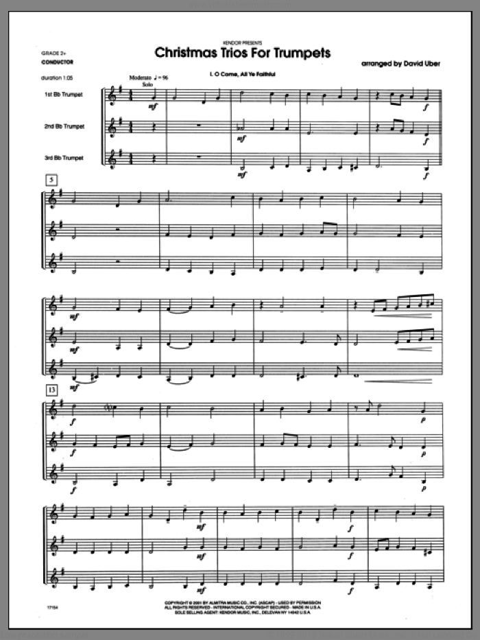 Christmas Trios For Trumpets (COMPLETE) sheet music for three trumpets by Uber, intermediate. Score Image Preview.