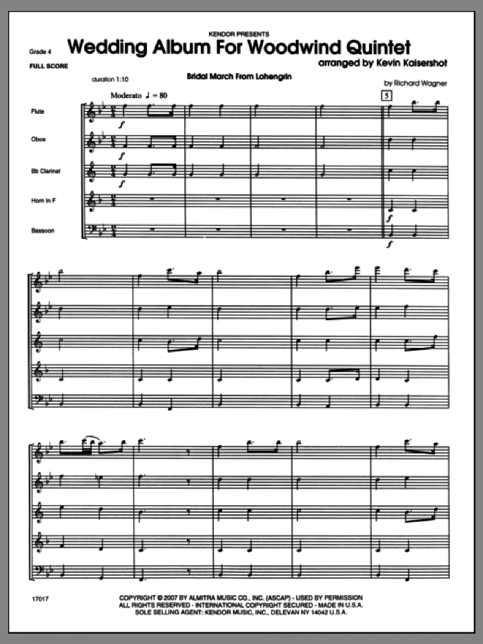 Wedding Album For Woodwind Quintet (COMPLETE) sheet music for wind quintet by Kevin Kaisershot, wedding score, intermediate skill level