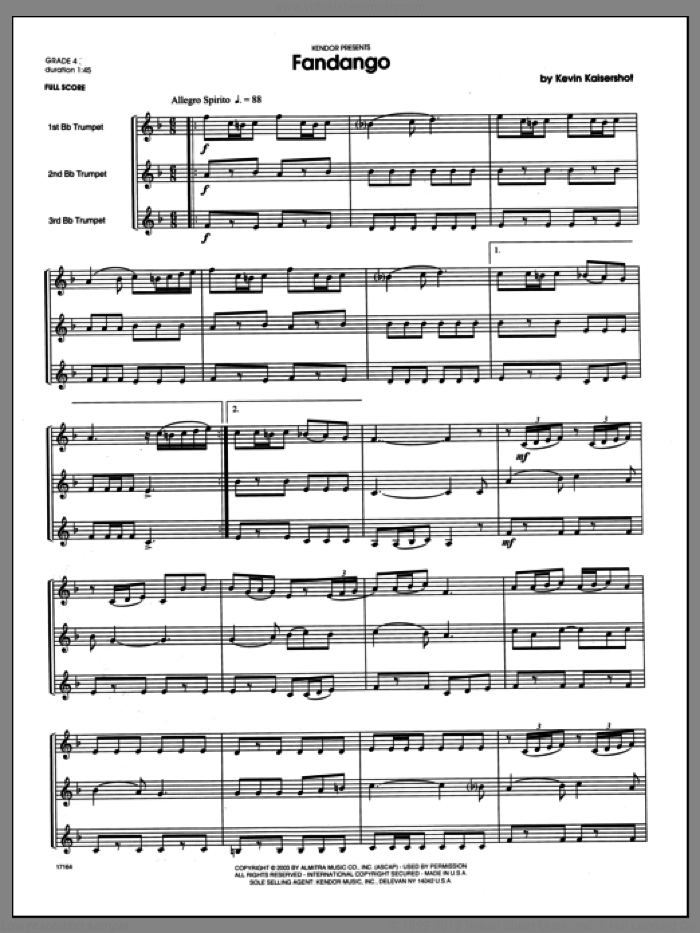 Fandango (COMPLETE) sheet music for three trumpets by Kaisershot, intermediate