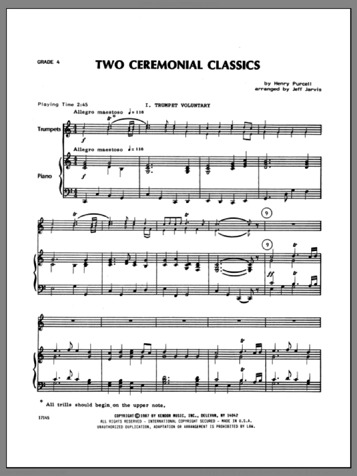 Two Ceremonial Classics (complete set of parts) sheet music for four trumpets and piano by Henry Purcell and Jarvis, classical score, intermediate four. Score Image Preview.