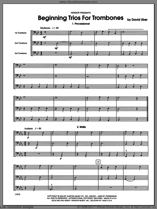 Beginning Trios For Trombones (COMPLETE) sheet music for trombone trio by Uber