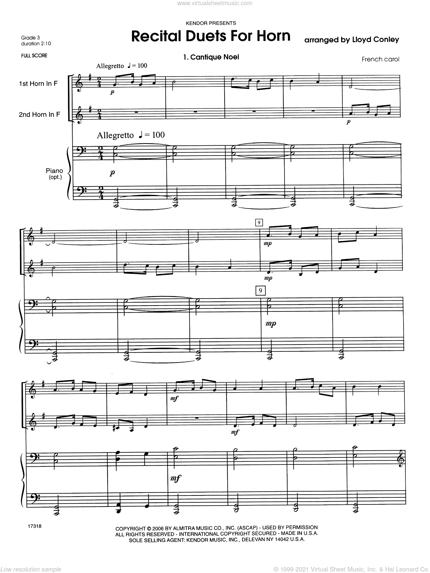 Recital Duets For Horn sheet music for two horns and piano (full score) by Conley