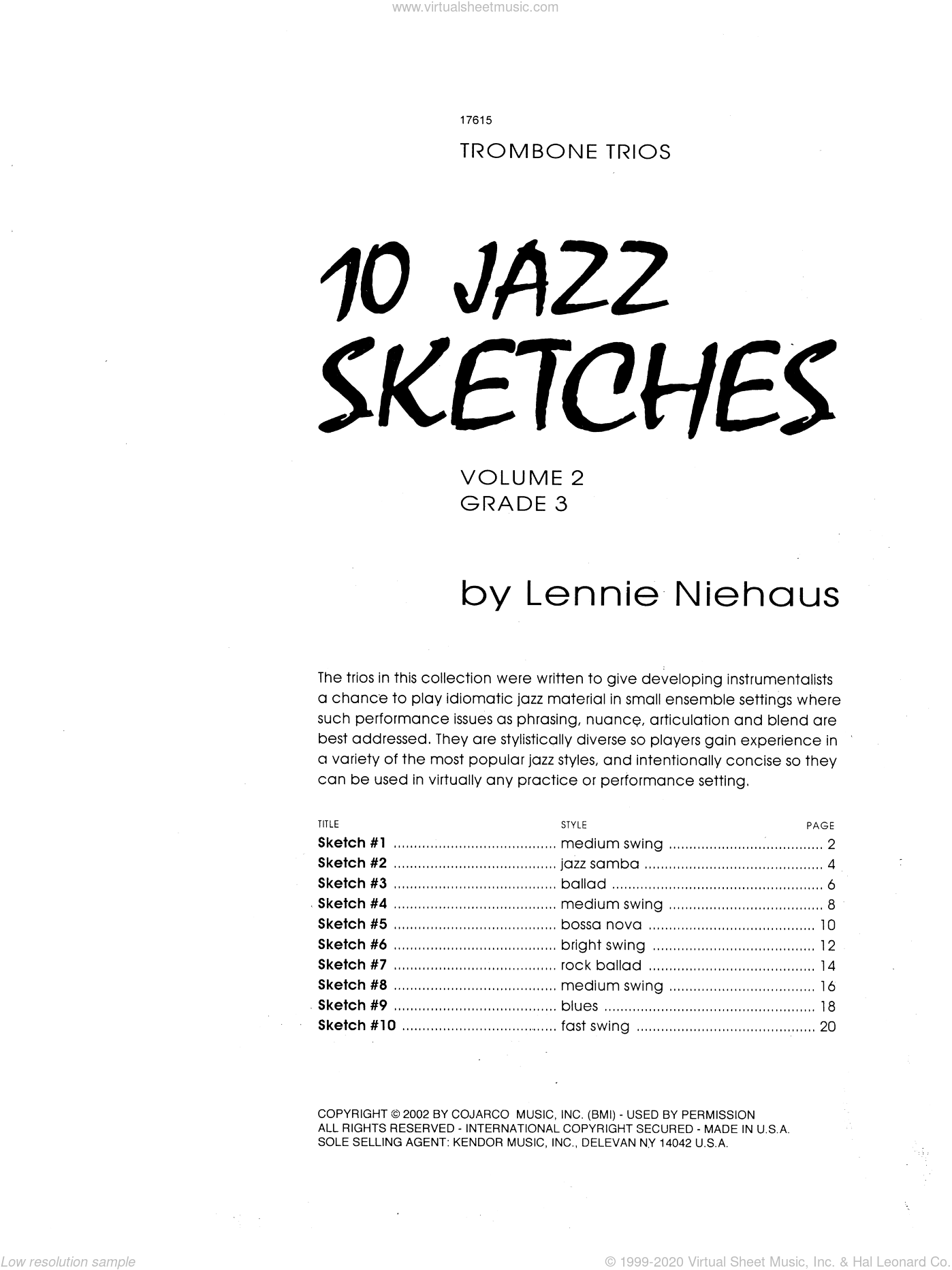 10 Jazz Sketches, Volume 2 sheet music for trombone trio by Lennie Niehaus, intermediate. Score Image Preview.