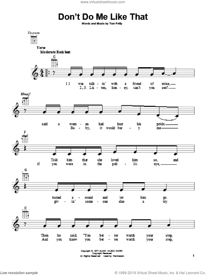 Don't Do Me Like That sheet music for ukulele by Tom Petty and Tom Petty and the Heartbreakers, intermediate. Score Image Preview.