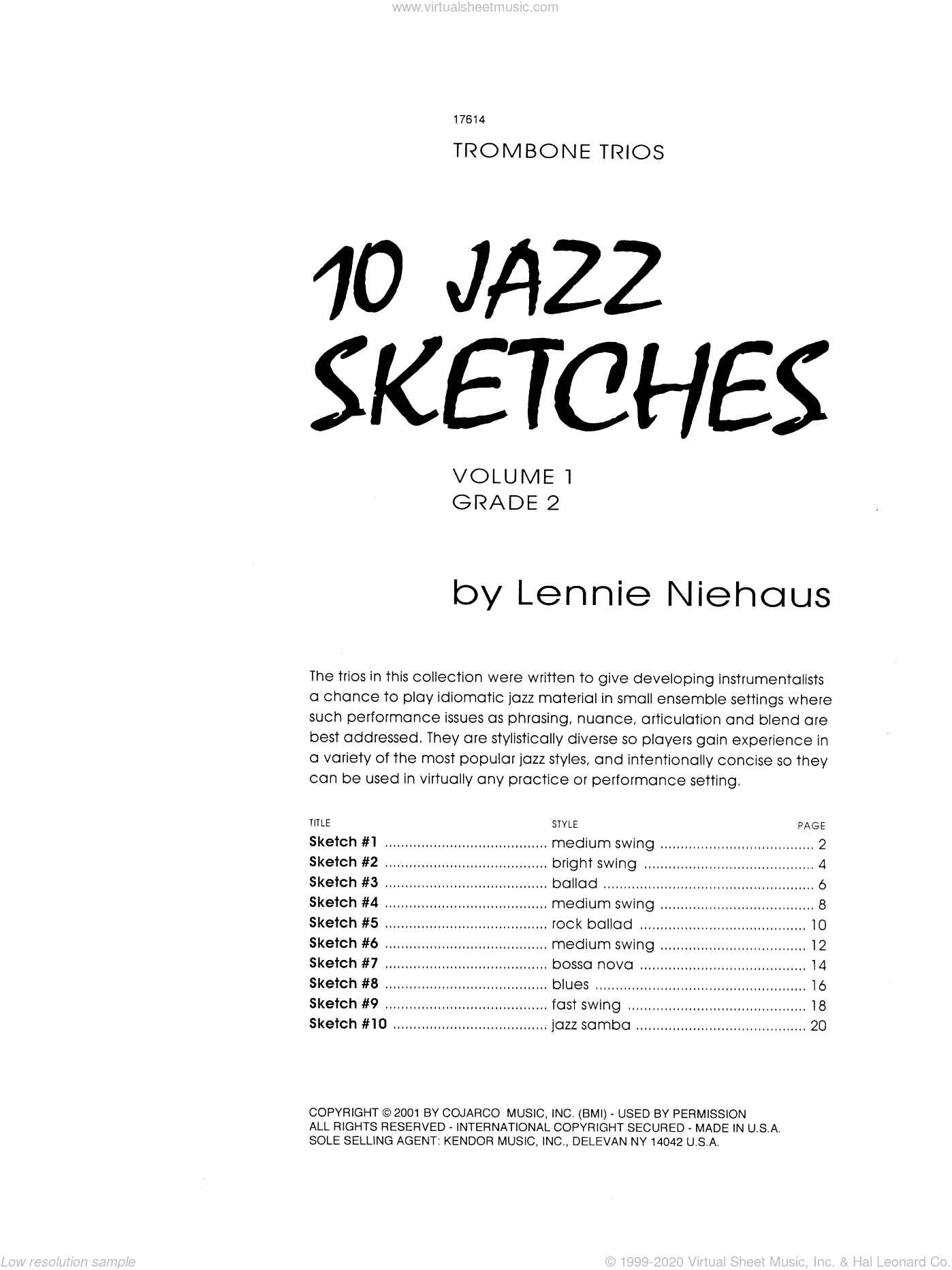 10 Jazz Sketches, Volume 1 sheet music for trombone trio by Lennie Niehaus. Score Image Preview.