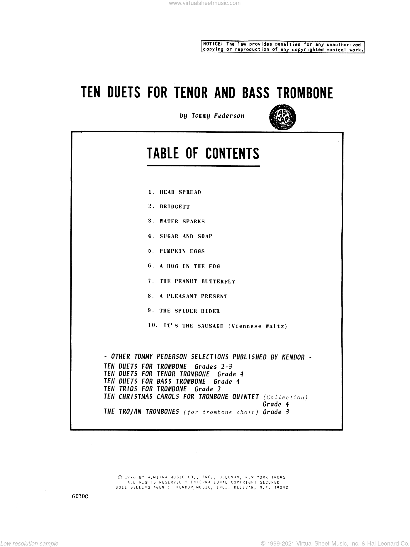 Ten Duets For Tenor And Bass Trombone sheet music for two trombones by Pederson. Score Image Preview.