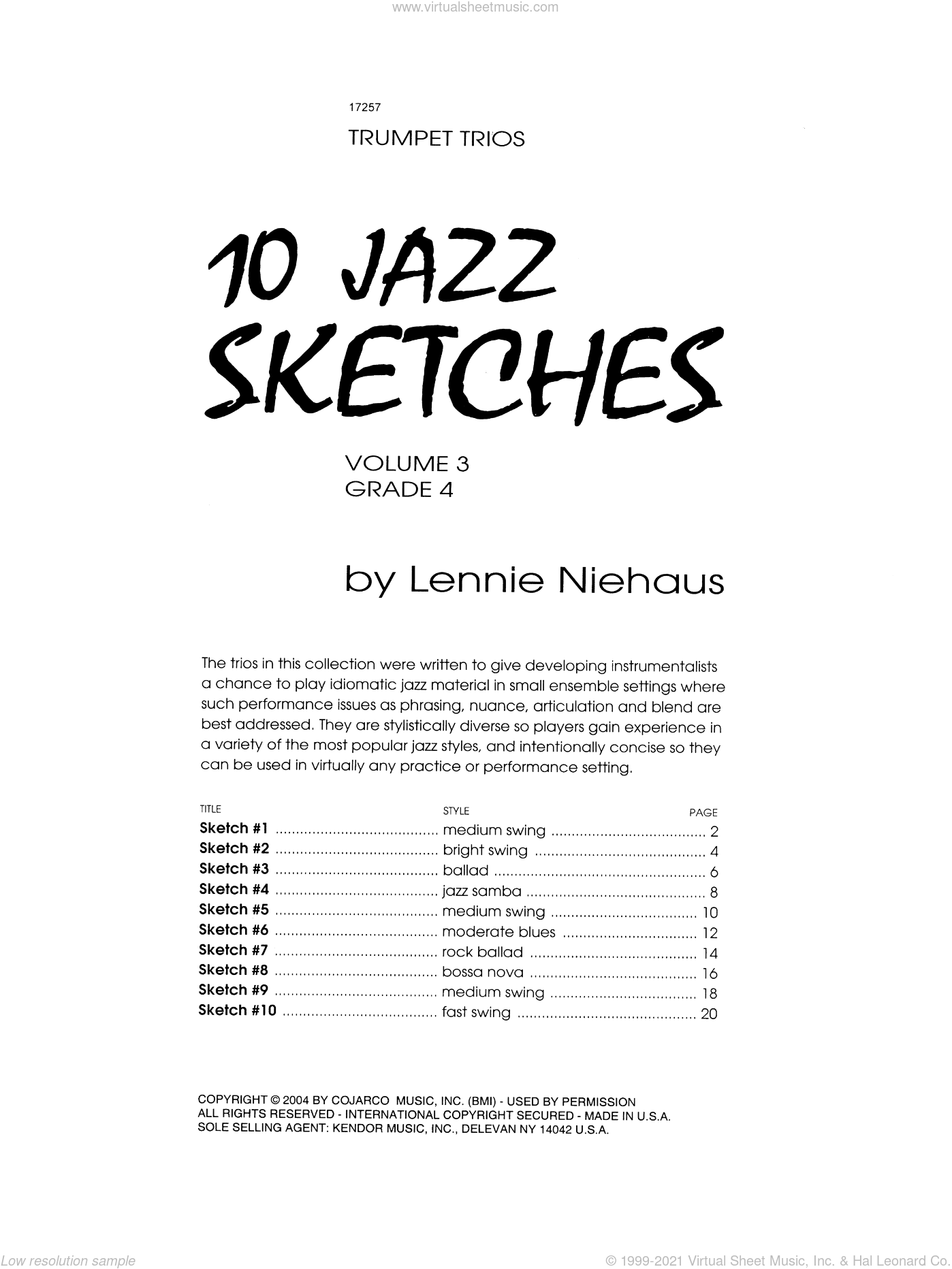 10 Jazz Sketches, Volume 3 sheet music for trumpet trio by Lennie Niehaus. Score Image Preview.