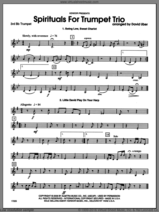 Spirituals sheet music for trumpet trio (3rd Bb trumpet) by Uber. Score Image Preview.