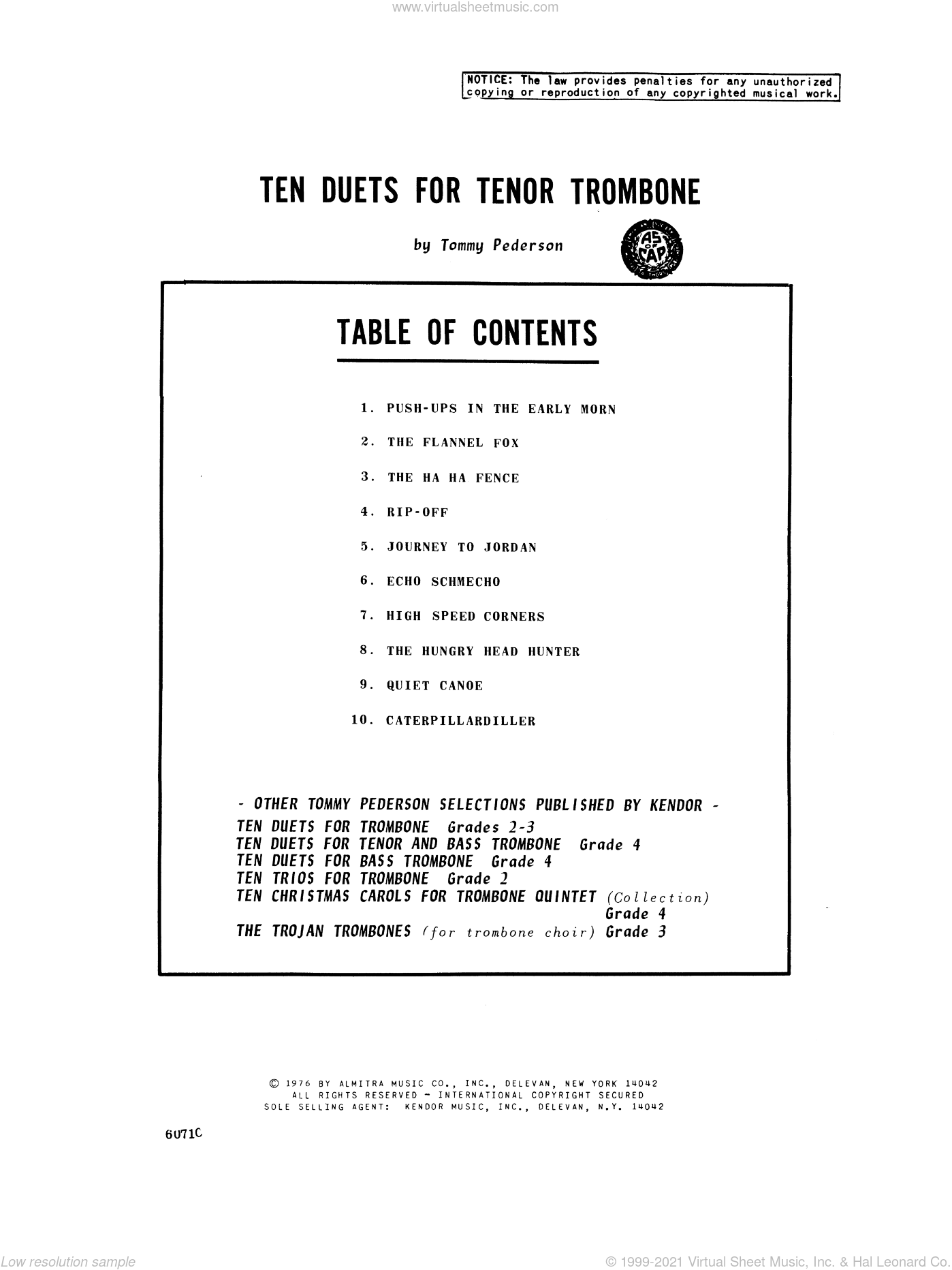 Ten Duets For Tenor Trombone sheet music for two trombones by Pederson. Score Image Preview.
