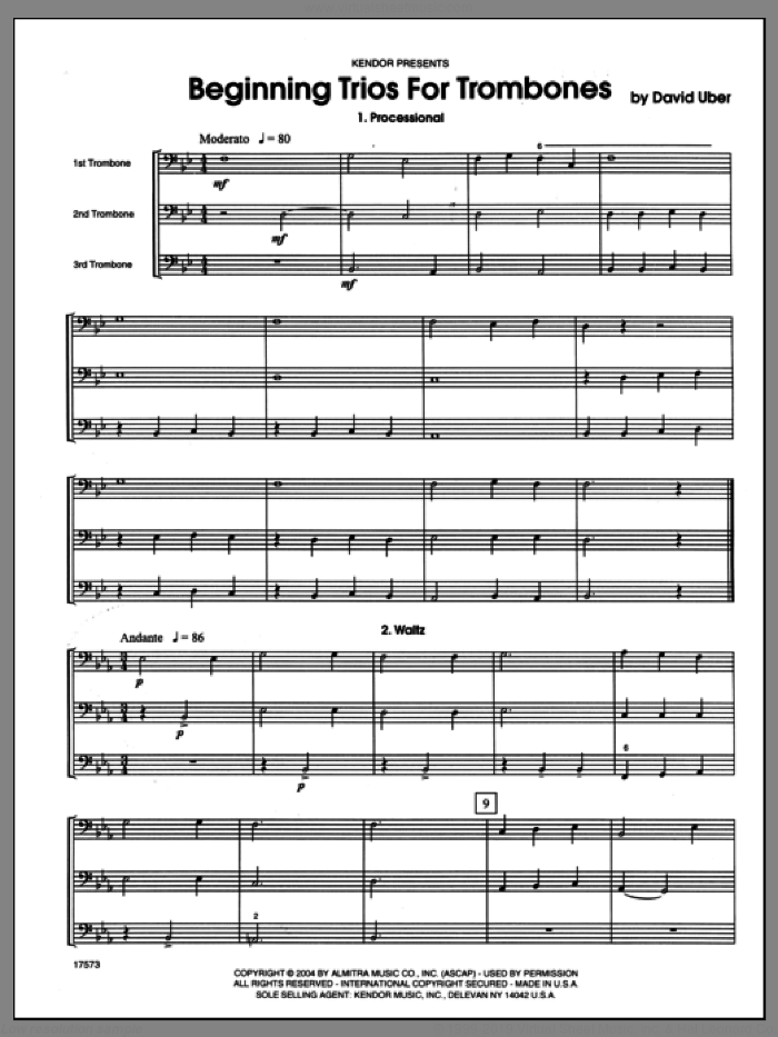 Beginning Trios For Trombones (COMPLETE) sheet music for three trombones by Uber, classical score, intermediate. Score Image Preview.