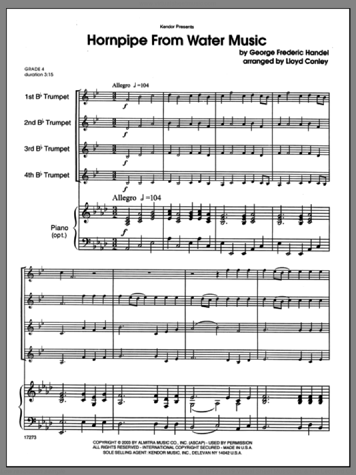 Hornpipe From Water Music (COMPLETE) sheet music for four trumpets and piano by George Frideric Handel and Lloyd Conley, classical score, intermediate skill level
