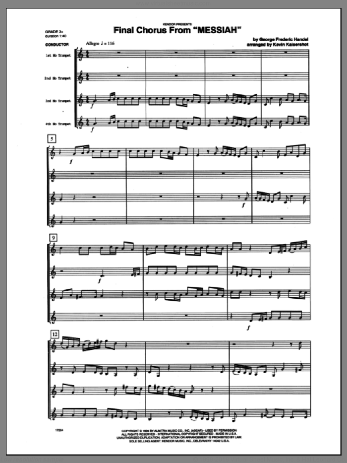 Final Chorus From 'Messiah' (Blessing And Honour,Glory And Power Unto Him) (COMPLETE) sheet music for four trumpets by George Frideric Handel and Kaisershot, classical score, intermediate