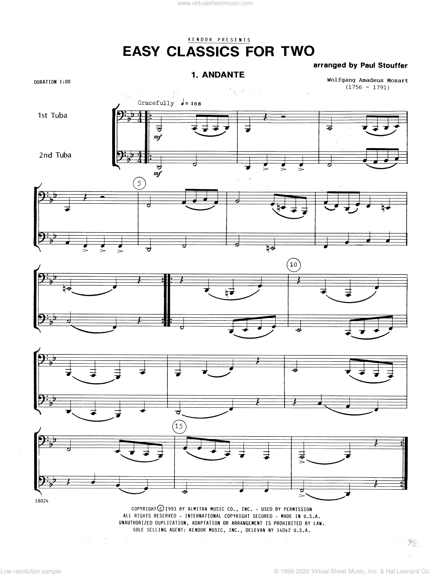 Easy Classics For Two sheet music for two tubas by Stouffer, classical score, intermediate duet