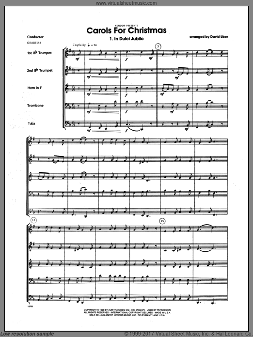 Carols for Christmas (COMPLETE) sheet music for brass quintet by Uber