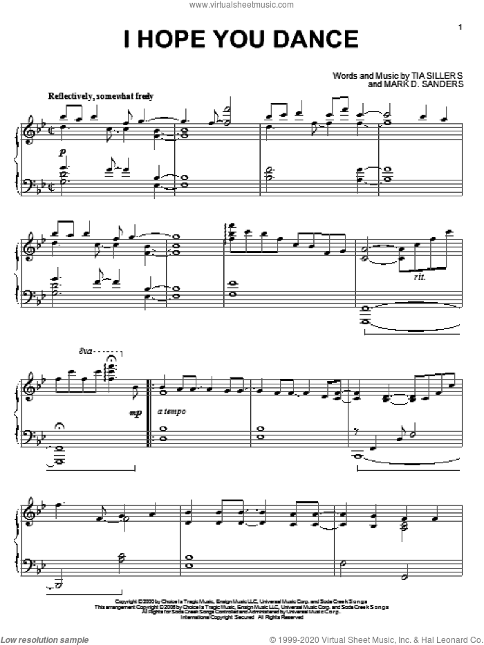 I Hope You Dance sheet music for piano solo by Lee Ann Womack, Mark D. Sanders and Tia Sillers, wedding score, intermediate skill level