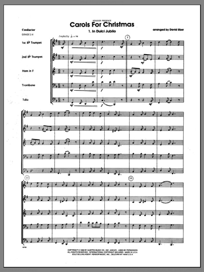 Carols for Christmas (COMPLETE) sheet music for brass quintet by Uber, intermediate skill level