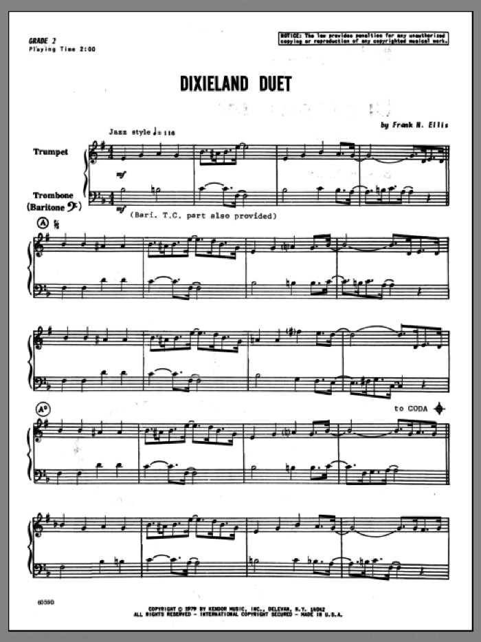 Dixieland Duet (COMPLETE) sheet music for trumpet and trombone by Ellis, intermediate duet. Score Image Preview.