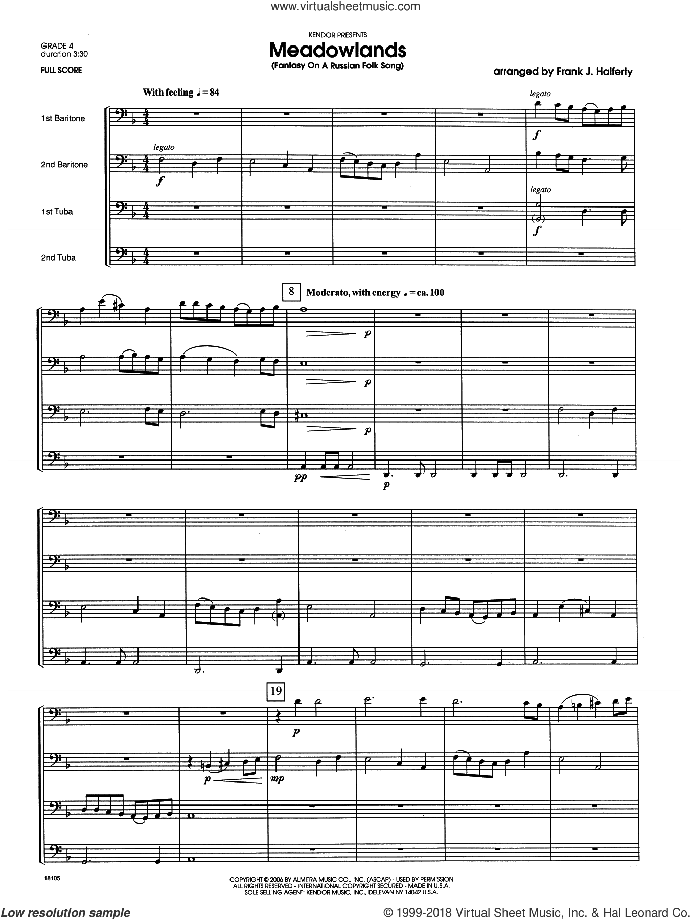 Meadowlands (Fantasy On A Russian Folk Song) sheet music for brass quartet (full score) by Halferty