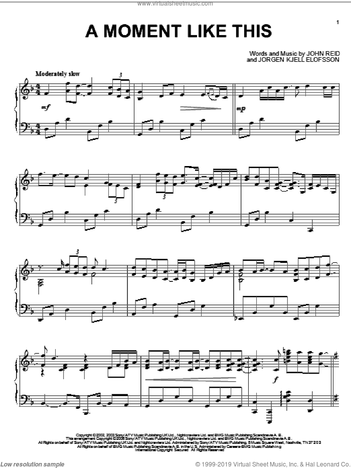 A Moment Like This sheet music for piano solo by Kelly Clarkson, John Reid and Jorgen Elofsson, intermediate skill level