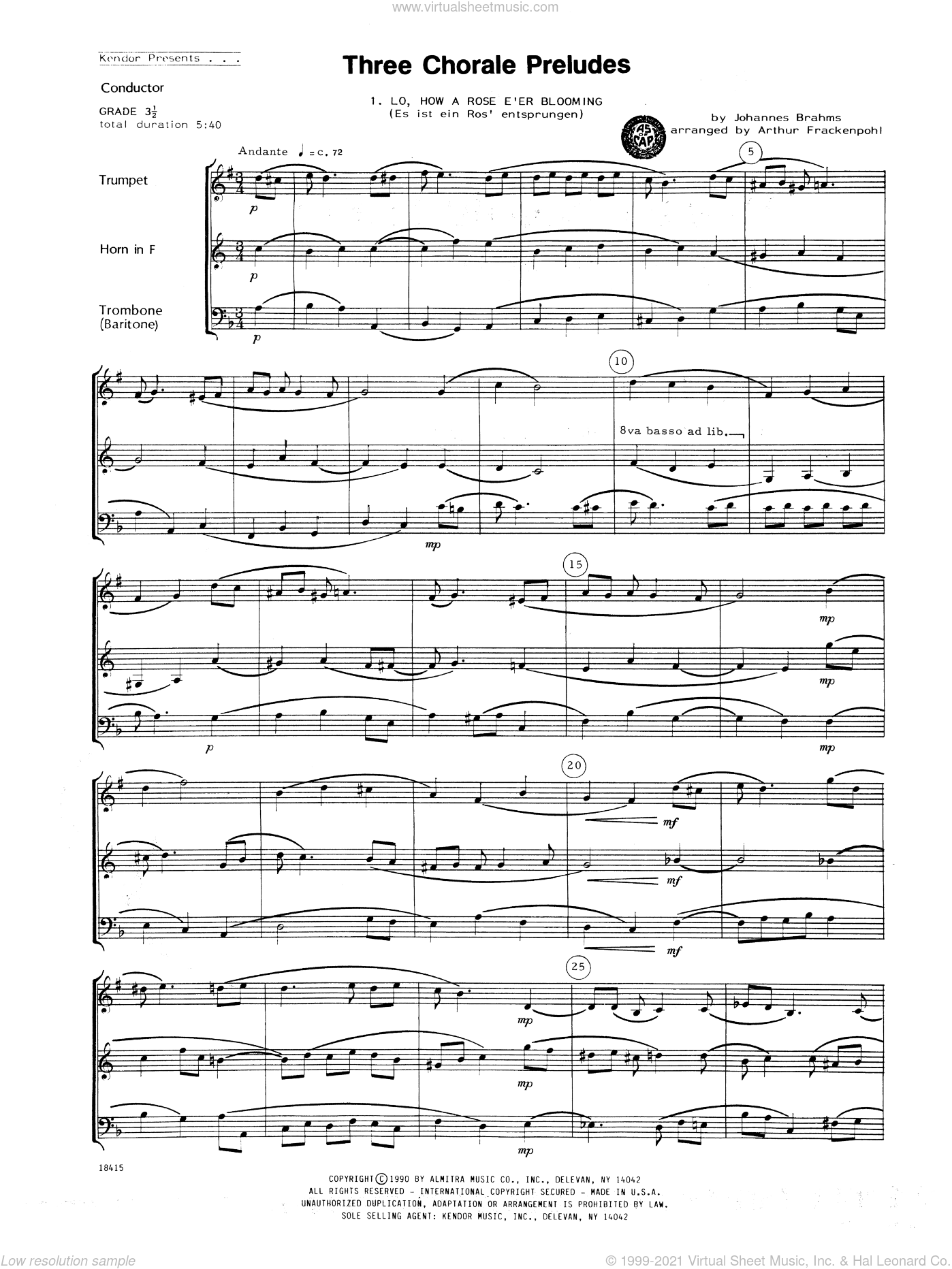 Three Chorale Preludes sheet music for brass trio (full score) by Johannes Brahms