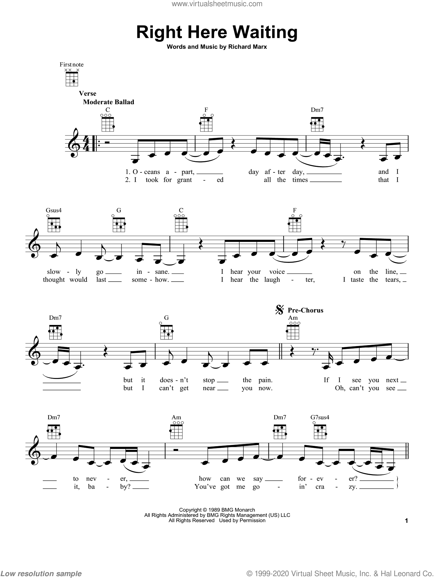 Right Here Waiting sheet music for ukulele by Richard Marx, intermediate