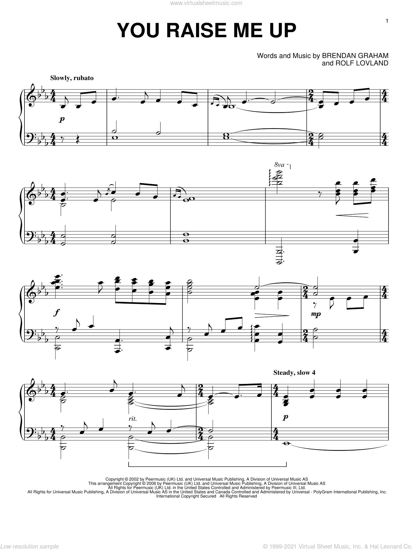 You Raise Me Up sheet music for piano solo by Josh Groban, Secret Garden, Brendan Graham and Rolf Lovland, wedding score, intermediate skill level