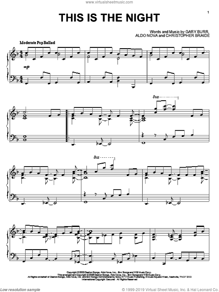 This Is The Night sheet music for piano solo by Gary Burr, Clay Aiken, Aldo Nova and Chris Braide