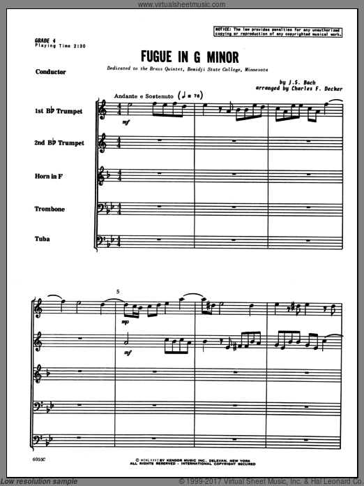 Fugue in G minor (COMPLETE) sheet music for brass quintet by Johann Sebastian Bach