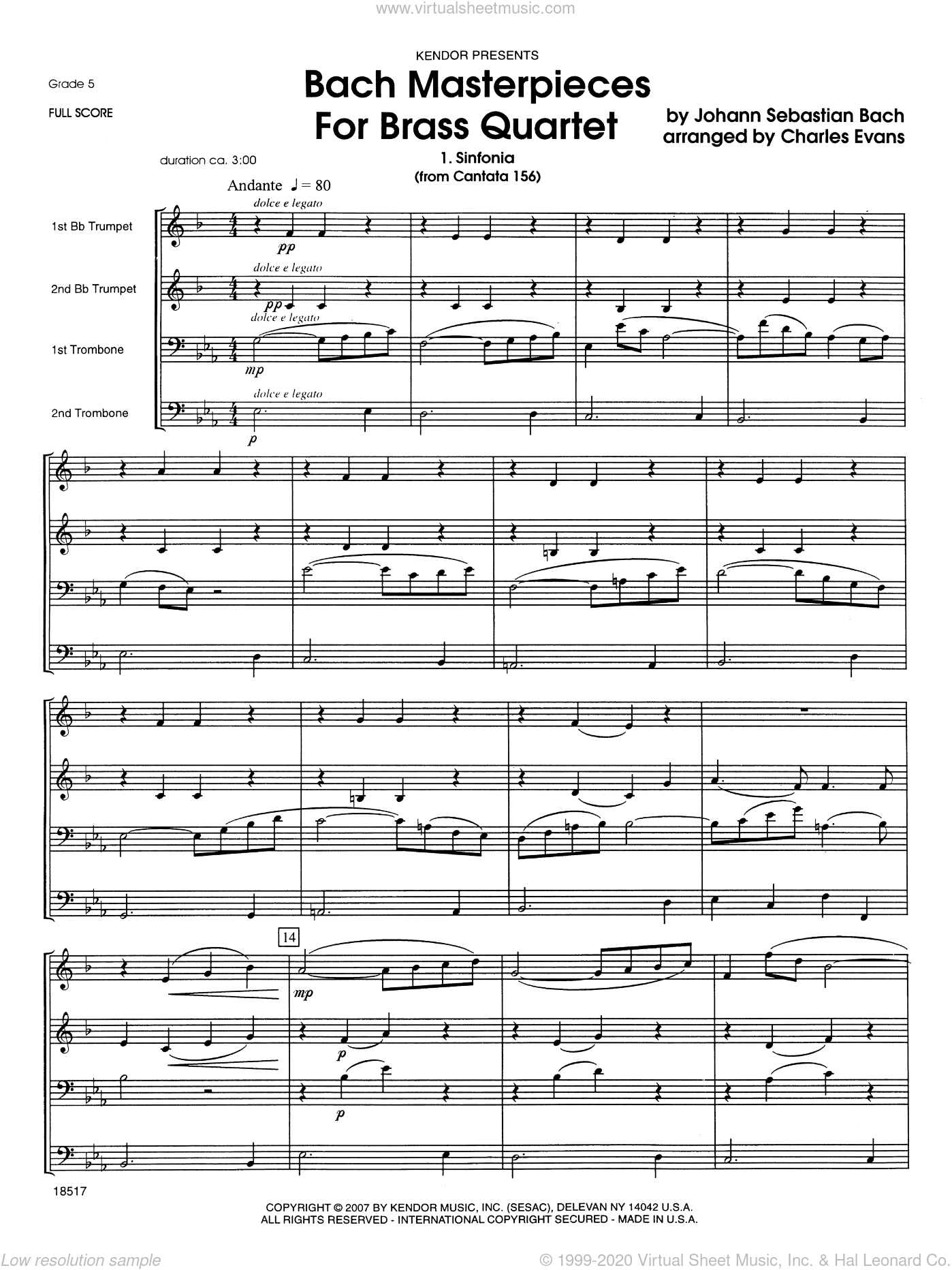 Bach Masterpieces For Brass Quartet sheet music for brass quartet (full score) by Johann Sebastian Bach