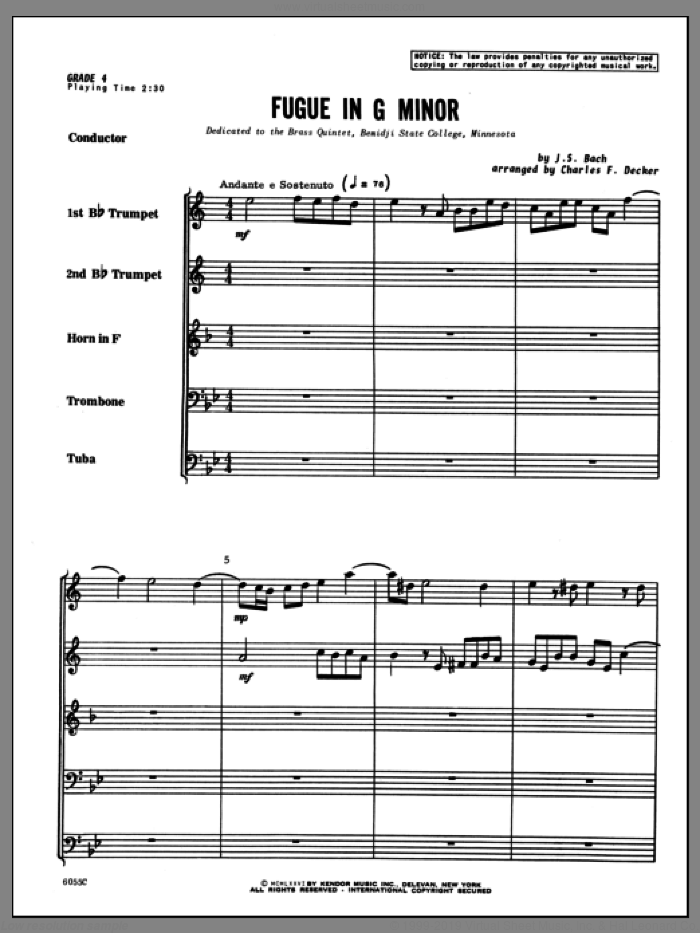 Fugue in G minor (COMPLETE) sheet music for brass quintet by Johann Sebastian Bach and Decker, classical score, intermediate skill level