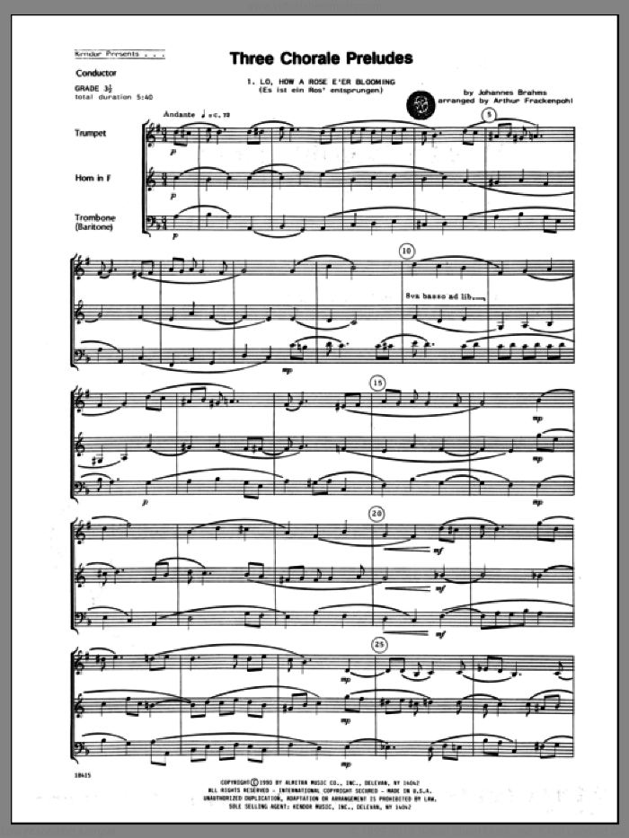 Three Chorale Preludes (COMPLETE) sheet music for brass trio by Johannes Brahms and Arthur Frackenpohl, classical score, intermediate skill level