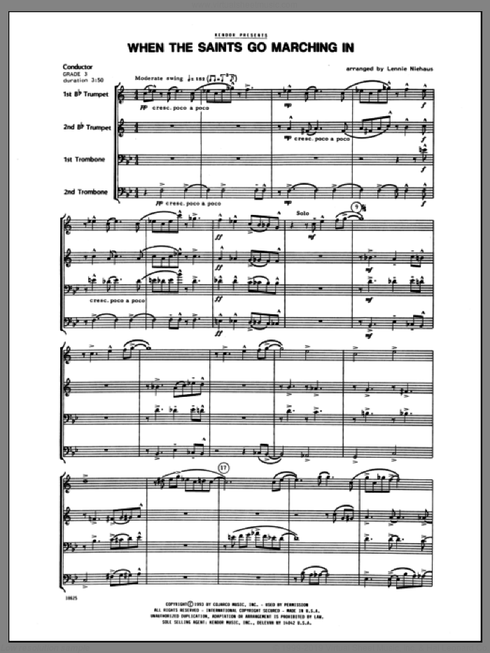 When the Saints Go Marching In (COMPLETE) sheet music for brass quartet by Lennie Niehaus, intermediate brass quartet. Score Image Preview.