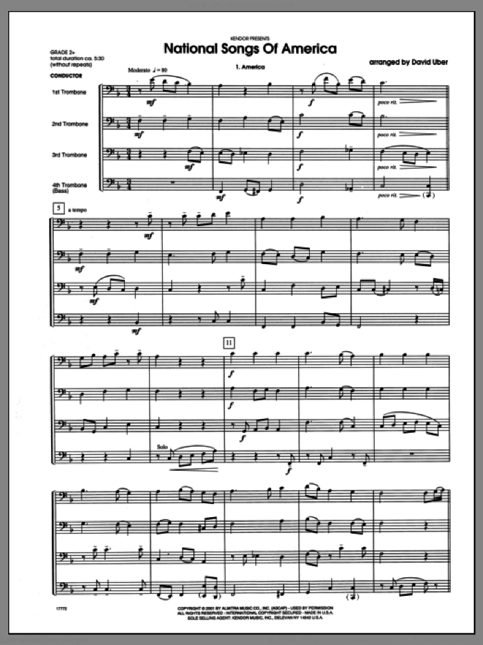National Songs Of America (COMPLETE) sheet music for four trombones by Uber, intermediate skill level