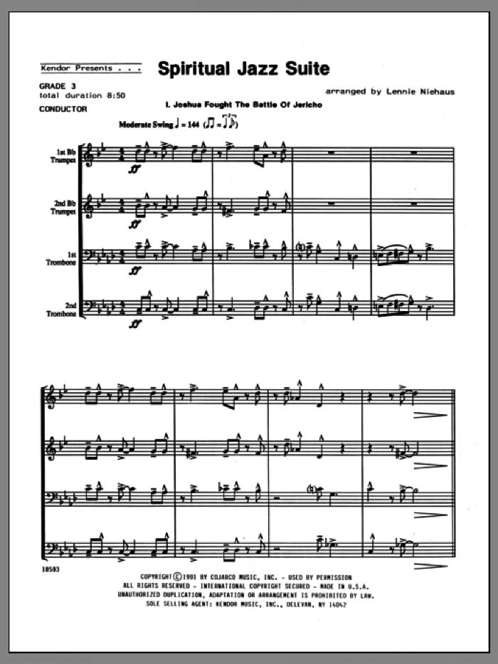 Spiritual Jazz Suite (COMPLETE) sheet music for brass quartet by Lennie Niehaus, intermediate brass quartet. Score Image Preview.