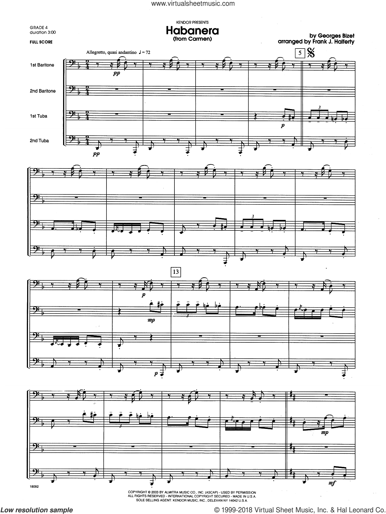 Habanera (from Carmen) (COMPLETE) sheet music for two tubas by Georges Bizet and Frank J. Halferty, classical score, intermediate skill level