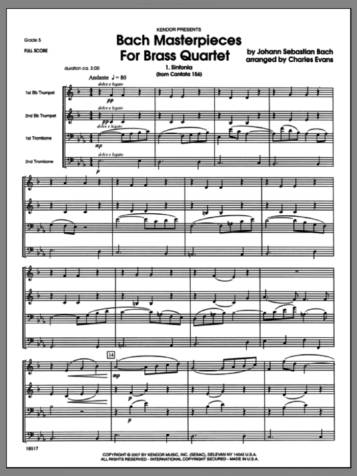Bach Masterpieces For Brass Quartet (COMPLETE) sheet music for brass quartet by Johann Sebastian Bach and Evans, classical score, intermediate skill level