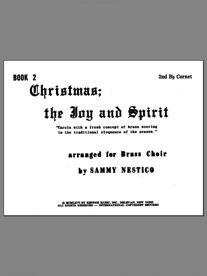 Christmas; The Joy and Spirit - Book 2/2nd Cornet sheet music for brass quintet by Nestico. Score Image Preview.