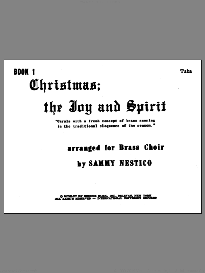 Christmas; The Joy and Spirit- Book 1/Tuba sheet music for brass ensemble by Nestico. Score Image Preview.