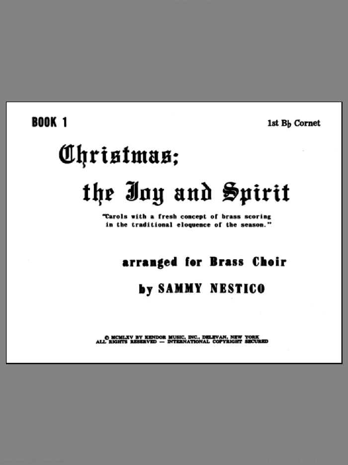 Christmas; The Joy and Spirit - Book 1/1st Cornet sheet music for brass ensemble by Nestico, intermediate. Score Image Preview.