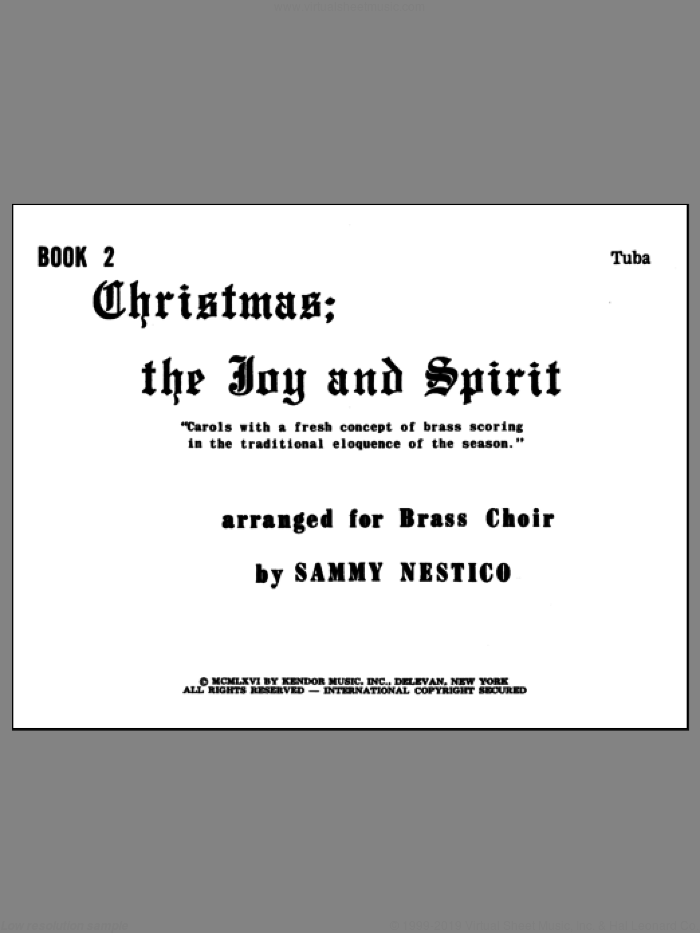 Christmas; The Joy and Spirit- Book 2/Tuba sheet music for brass quintet by Nestico. Score Image Preview.