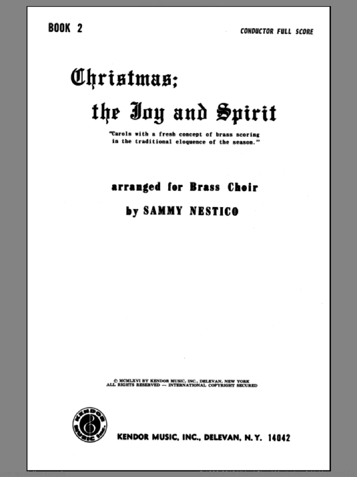 Christmas; The Joy and Spirit- Book 2/Full Score sheet music for brass quintet by Nestico. Score Image Preview.