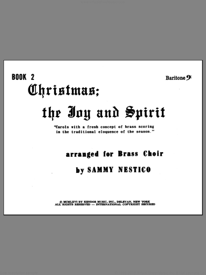 Christmas; The Joy and Spirit - Book 2/Baritone BC sheet music for brass quintet by Nestico, intermediate skill level