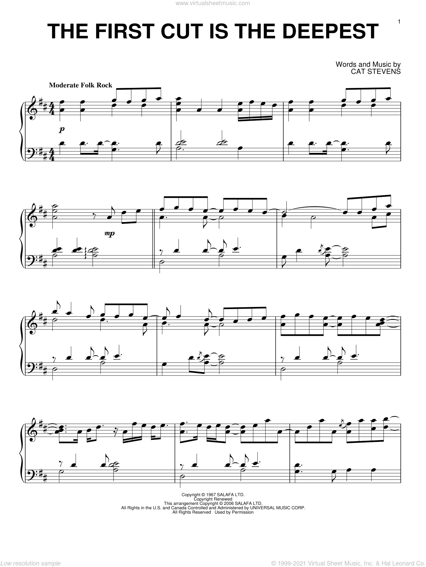 The First Cut Is The Deepest sheet music for piano solo by Sheryl Crow, Rod Stewart and Cat Stevens, intermediate. Score Image Preview.