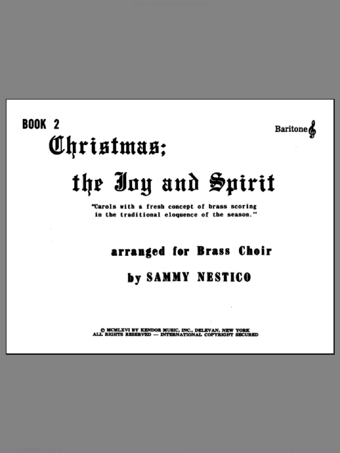 Christmas; The Joy and Spirit - Book 2/Baritone TC sheet music for brass quintet by Nestico, intermediate skill level
