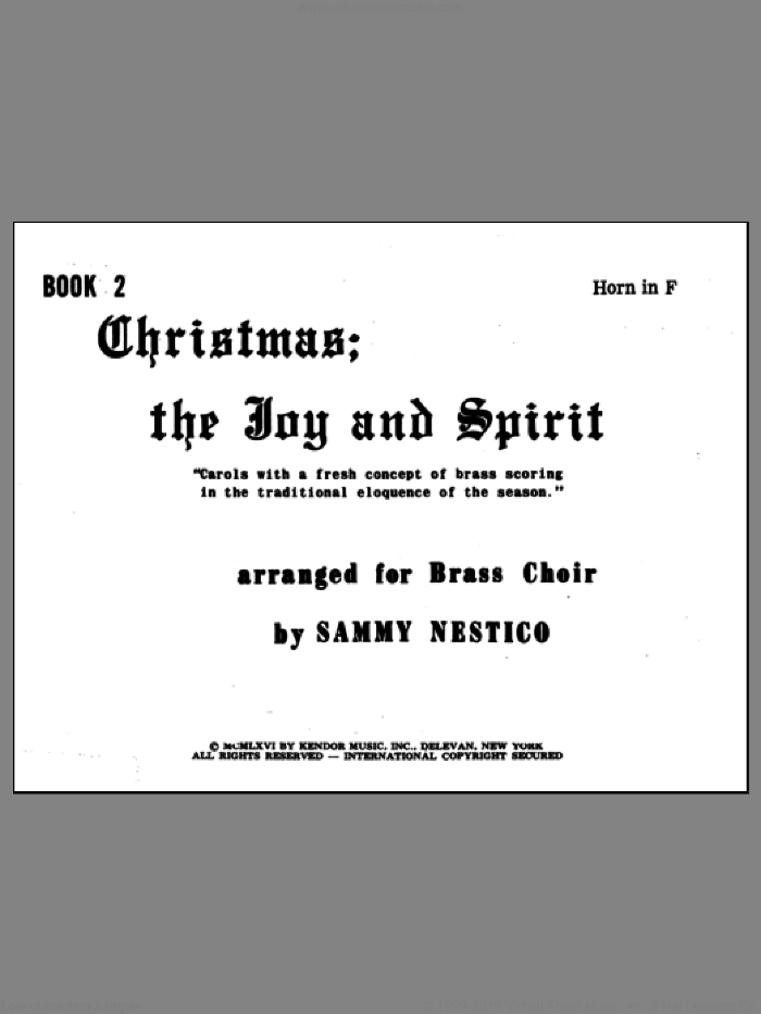 Christmas; The Joy and Spirit- Book 2/Horn In F sheet music for brass quintet by Nestico, intermediate. Score Image Preview.