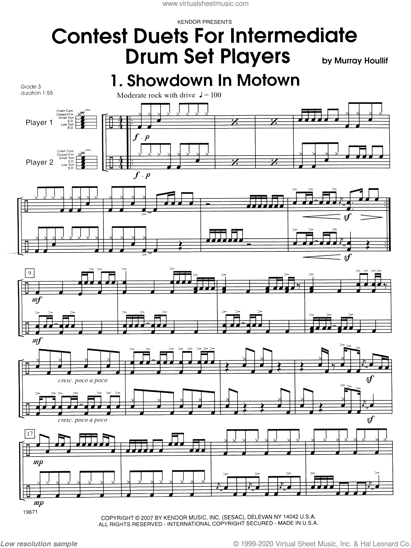 Contest Duets For Intermediate Drum Set Players sheet music for percussions by Houllif, classical score, intermediate percussions. Score Image Preview.