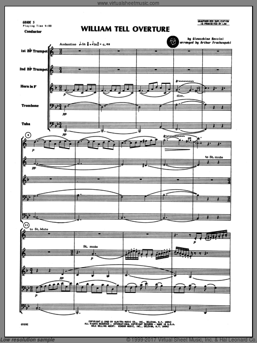 William Tell Overture (COMPLETE) sheet music for brass quintet by Gioacchino Rossini