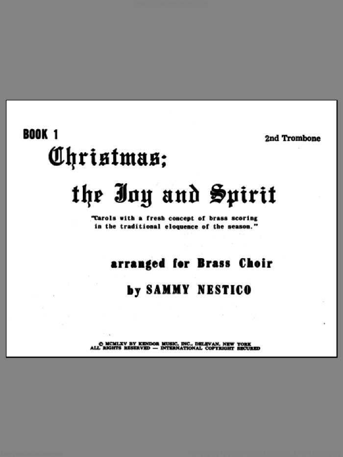 Christmas; The Joy and Spirit - Book 1/2nd Trombone sheet music for brass ensemble by Nestico. Score Image Preview.