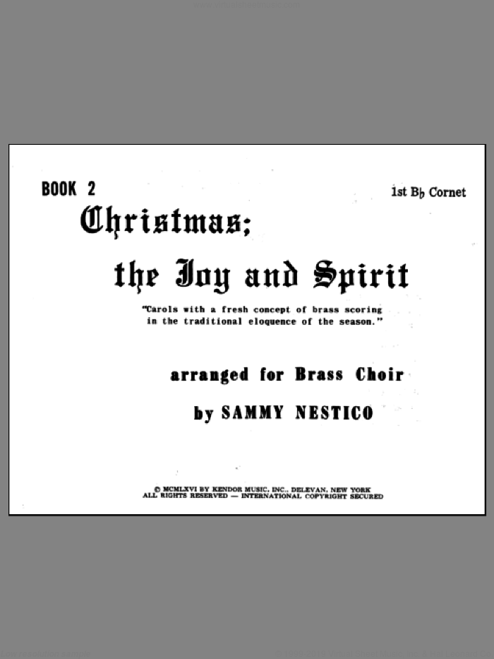 Christmas; The Joy and Spirit - Book 2/1st Cornet sheet music for brass quintet by Nestico. Score Image Preview.